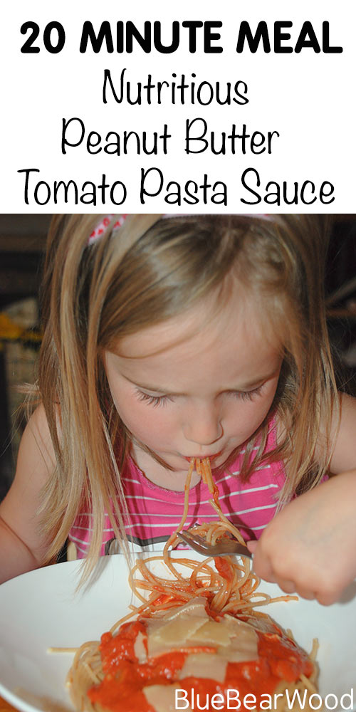 Peanut Butter Tomato Pasts Sauce - A quick, thrifty and nutritious meal in just 20 minutes
