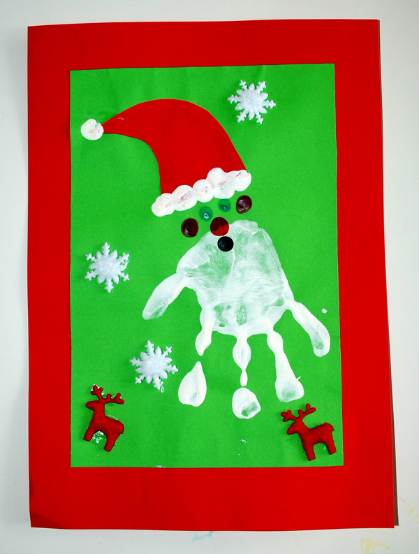 Father Christmas Hand Print Christmas Card
