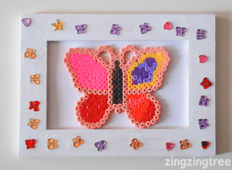 Create a beautiful framed gift useing a hama bead butterfly project