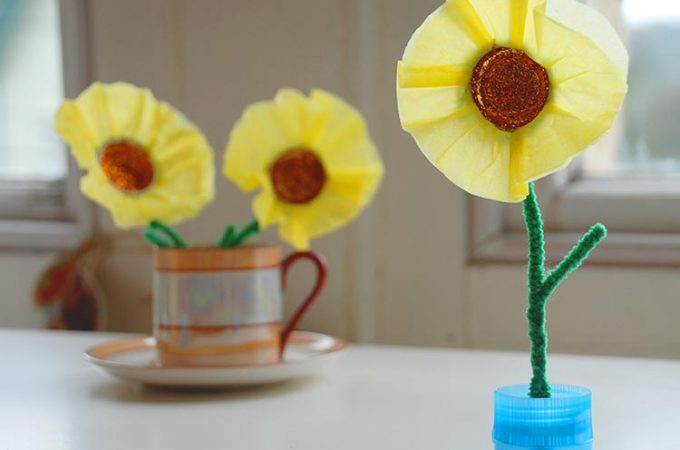 Plastic Bottle Top Spring Flowers