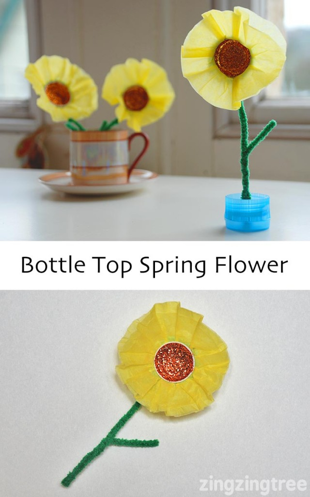 Spring Flower Craft Using Upcycled Plastic Bottle Tops