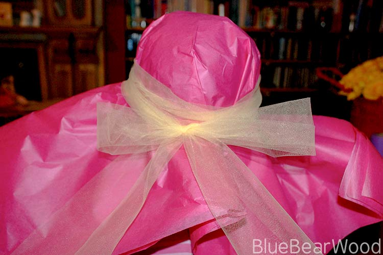 DIY Tissue Paper Hat With Tulle Bow