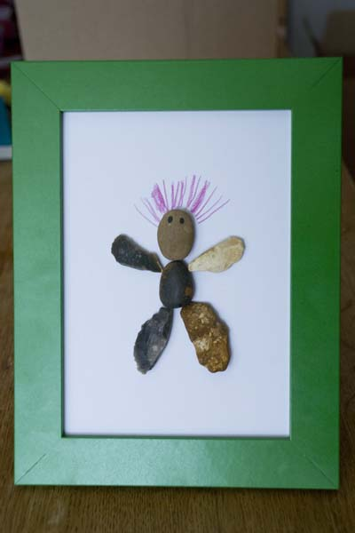 Spikey Hair Man Pebble Art