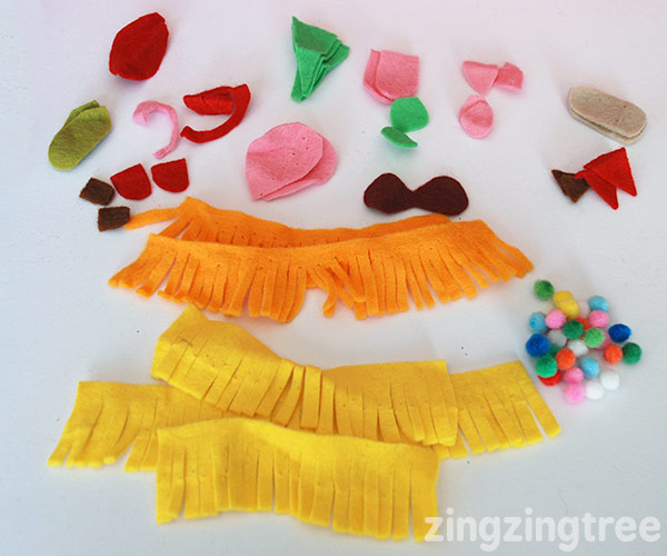 Small felt shapes for making pine cone pets