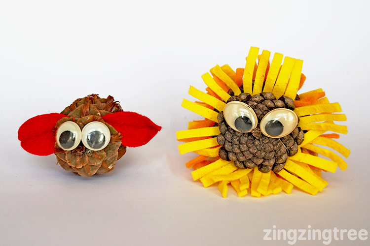 Make Pine cone pets by adding felt scraps