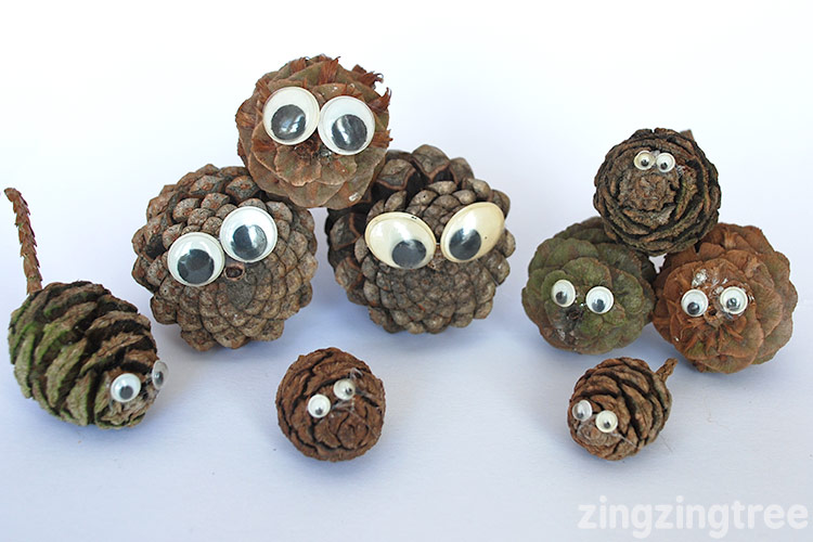 Add Googley eyes to pine cones for some pine cone pet fun