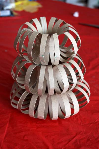 Stacked cardboard tube torus
