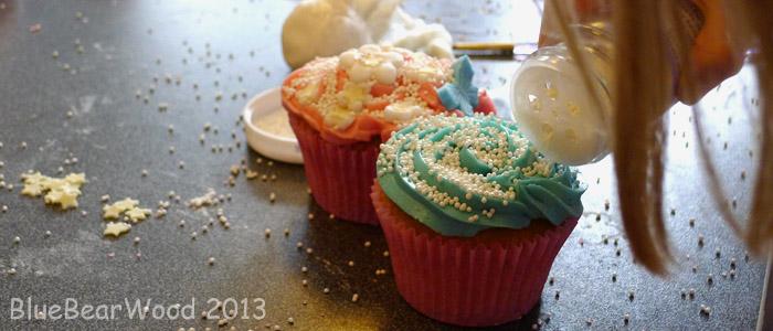 Sprinkles on cup cakes
