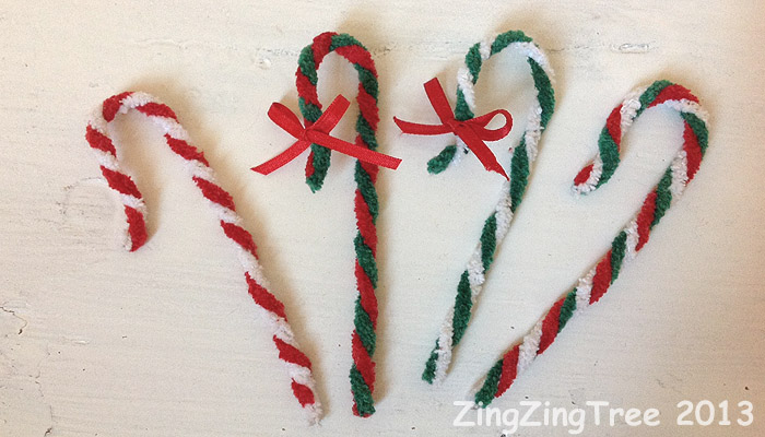 Pipe cleaner standard candy canes
