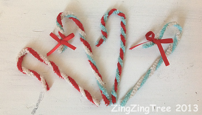 Pipe cleaner vintage candy canes