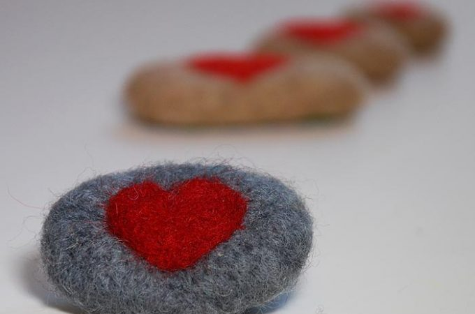 Gift Your Love In A Cute Needle Felt Pebble Heart