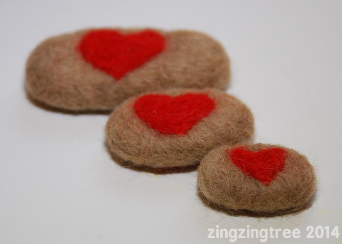 Needle Felt Pebble Love Tokens set of three