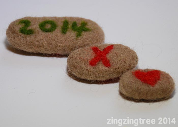 Needle Felt Pebble Love Tokens set of three back