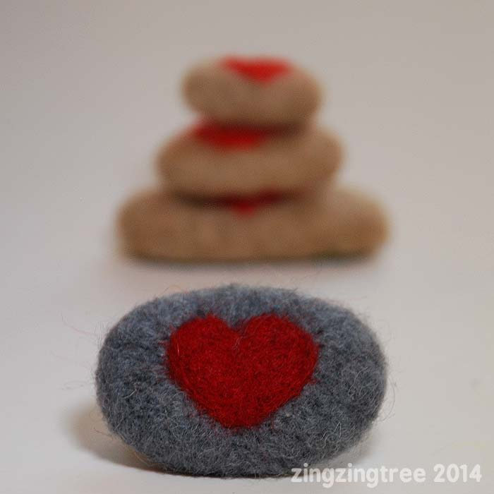 Needle Felt Pebble Love Tokens