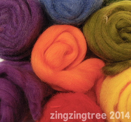 Rainbow Needle Felt Wool