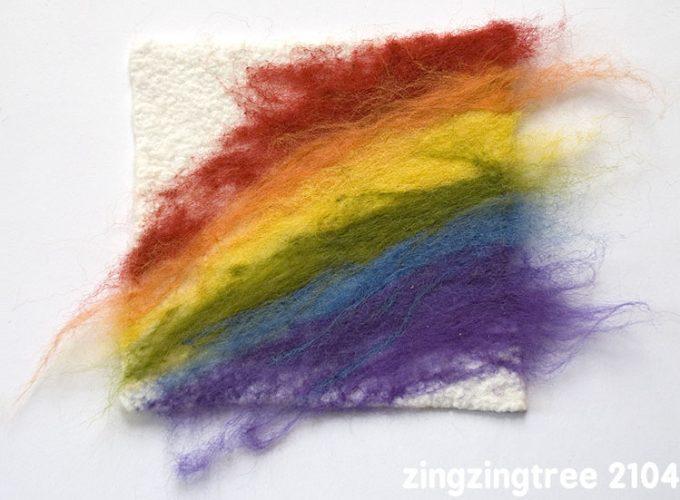 An Easy Needle Felt Rainbow Textile Art Project