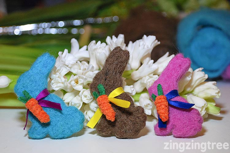 Needle felt bunnies