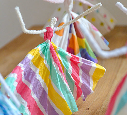 Paper Napkin Dancing Princesses Pipe Cleaner Craft