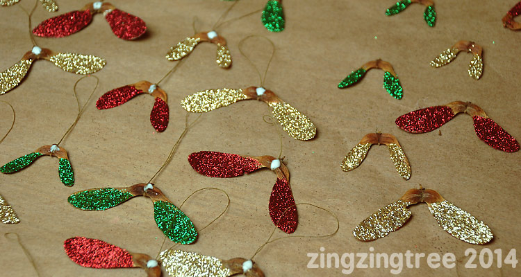 Glitter Helicopter Seeds Christmas Decorations