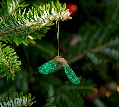 Gorgeous Glittery Helicopter (Sycamore) Seed Christmas Tree Decorations