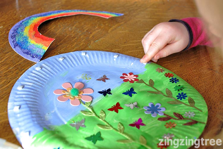 Paper Plate Rainbow Garden Collage