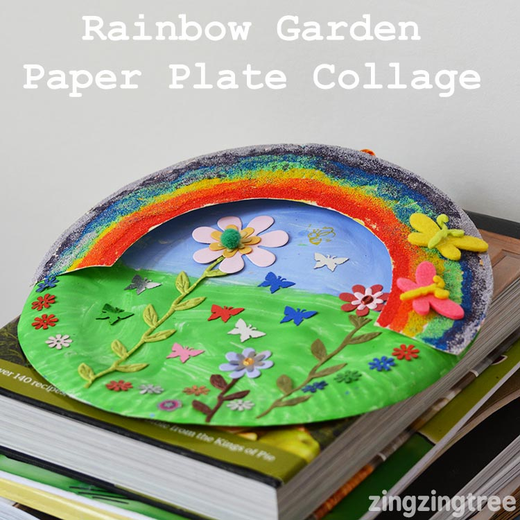 Rainbow Garden Paper Plate Collage