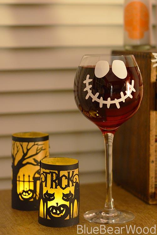 Halloween wine glass decoration