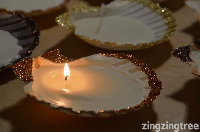 DIY Glitter Seashell Candles