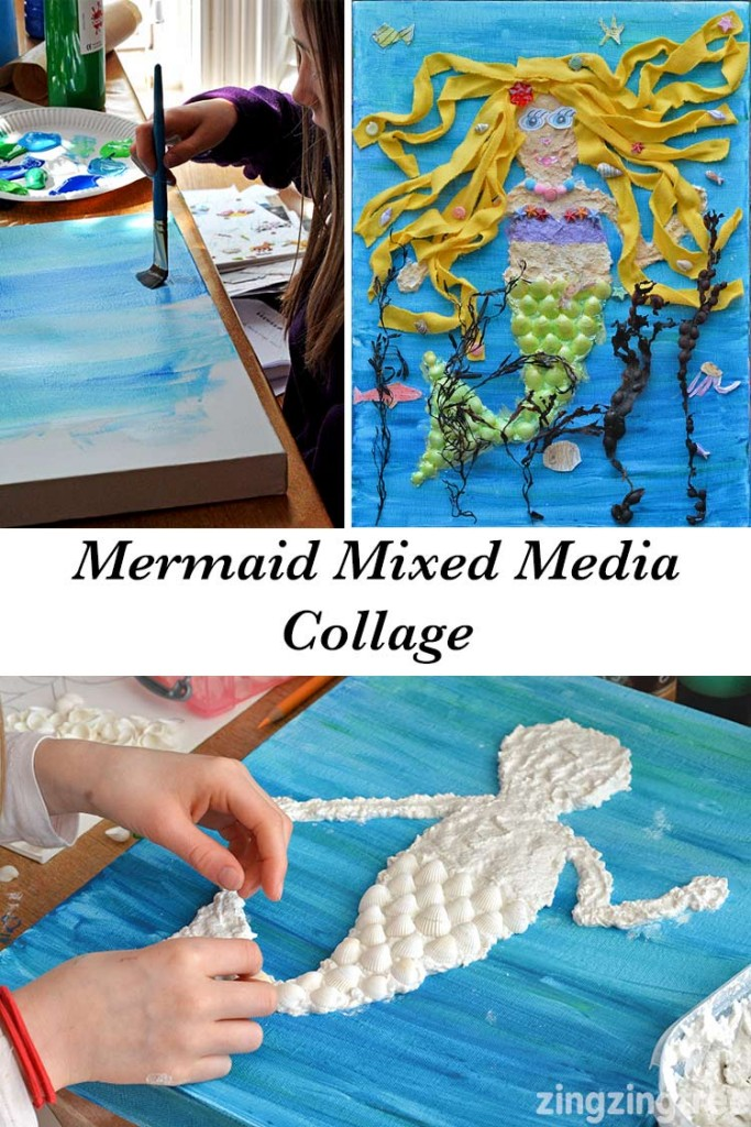 Mermaid Mixed Media Collage
