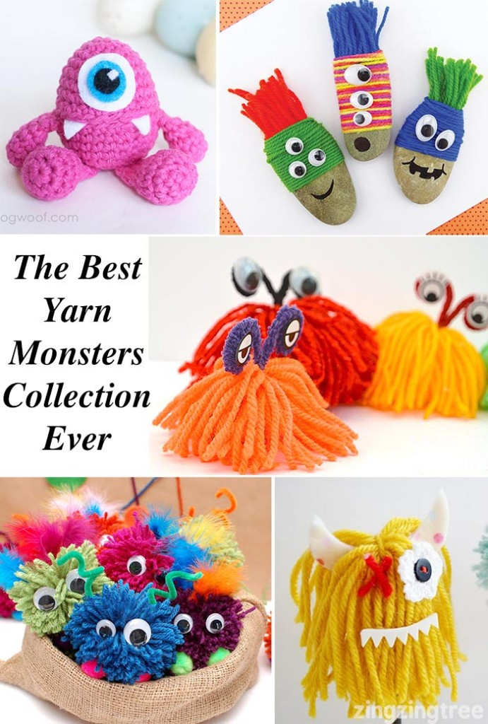 An amazing collection of DIY monster crafts made from yarn and wool. Great for entertaining the kids on playdates and over the holidays