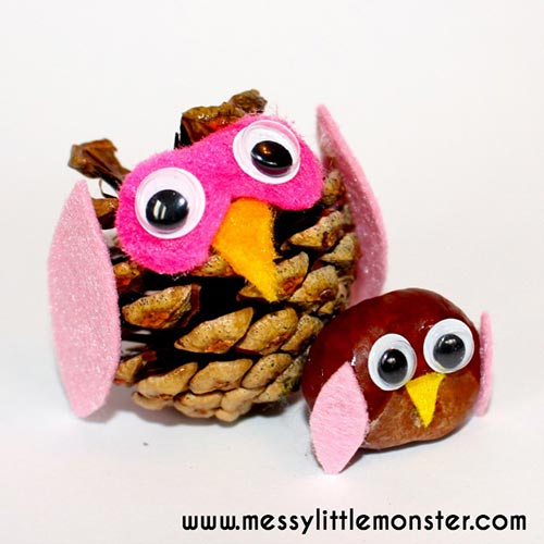 Nature owl crafts using felt