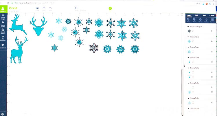 Cricut stags and snowflakes