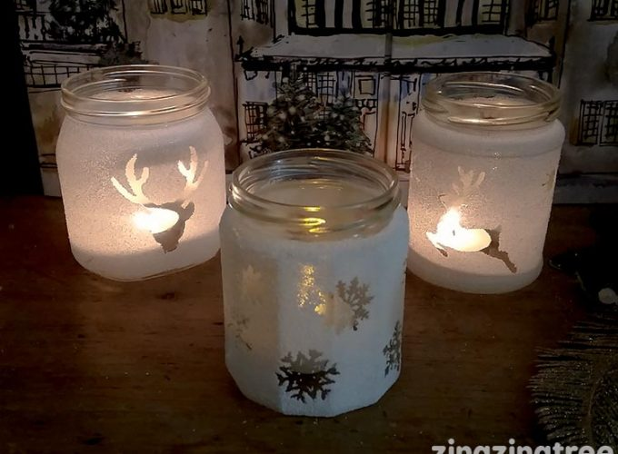Easy DIY Frosted Glass Jam Jar Luminaries
