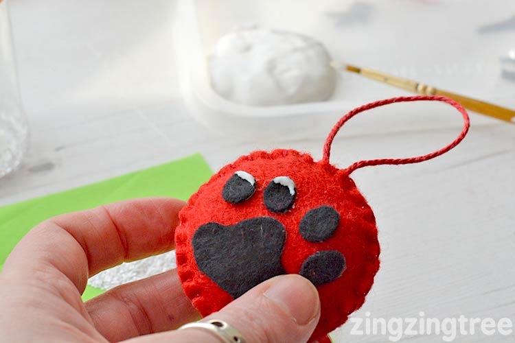 Felt Paw Print Christmas Tree Decoration