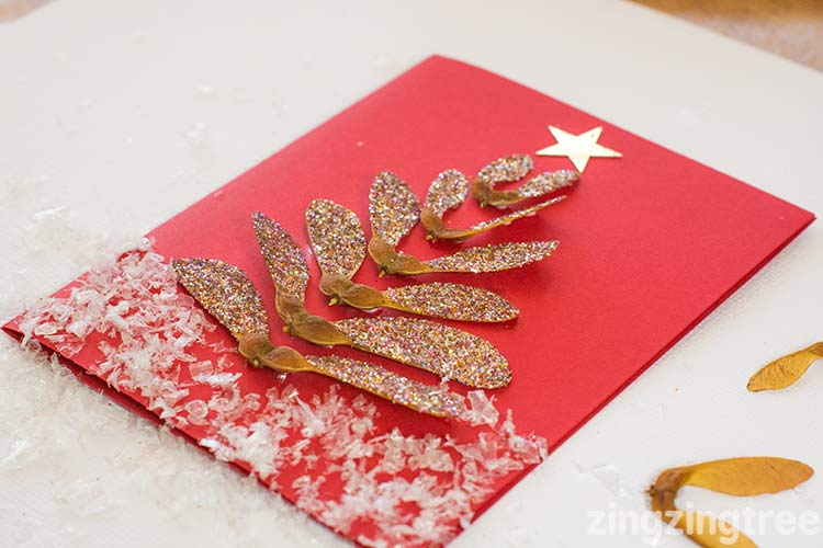 How to make a sycamore seed christmas tree card
