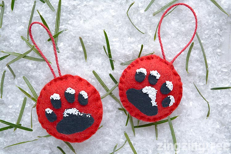 Felt Paw Print Christmas Tree Ornament