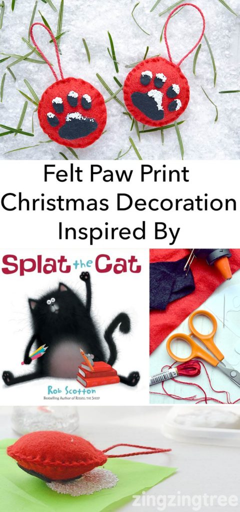 Super cute Felt Paw Print Christmas Tree Ornament inspired by Splat The Cat