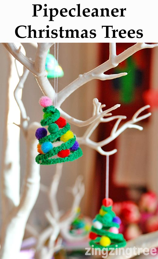 Pipe cleaner christmas trees decoration for Christmas tree decorations you can make at home