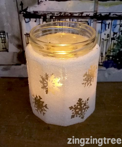 Snowflake frosted luminary