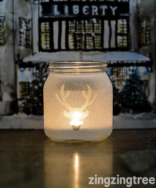 Easy DIY frosted jam jar luminary