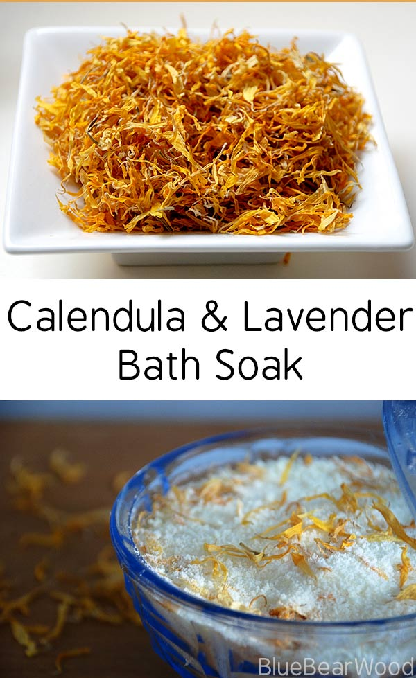 DIY Calendula & Lavender Bath Soak #DIYbeauty #bathsoak #homemadebathsalts