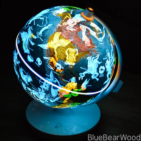 Constellations on a world globe