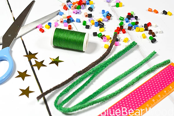 Materials To Make The Perler Christmas Tree