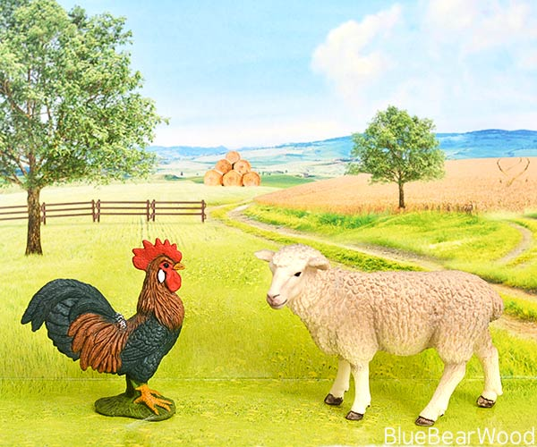 Schleich Animal Figures Farm Animals Cockerel and Sheep