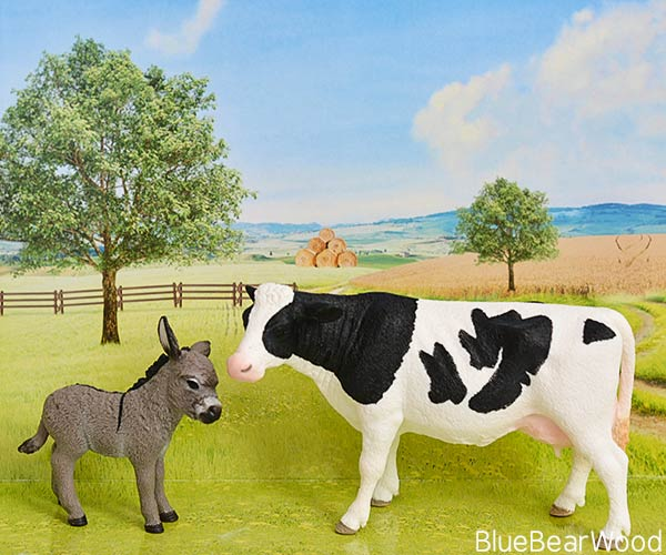 Schleich Farm Animals Cow And Donkey