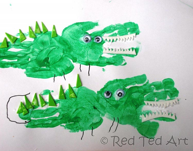 Hand Print Crocodile Craft