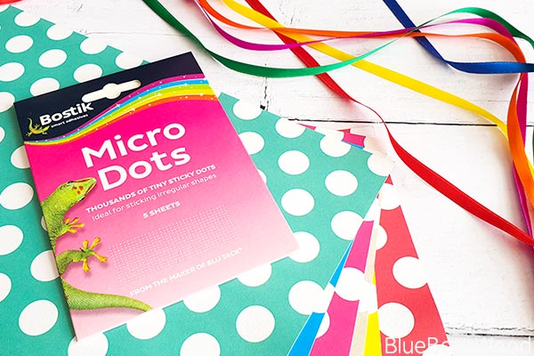 "Materilas Required Bostik Micro Dots' 12""x12"" Patterned Paper, 9mm ribbon"