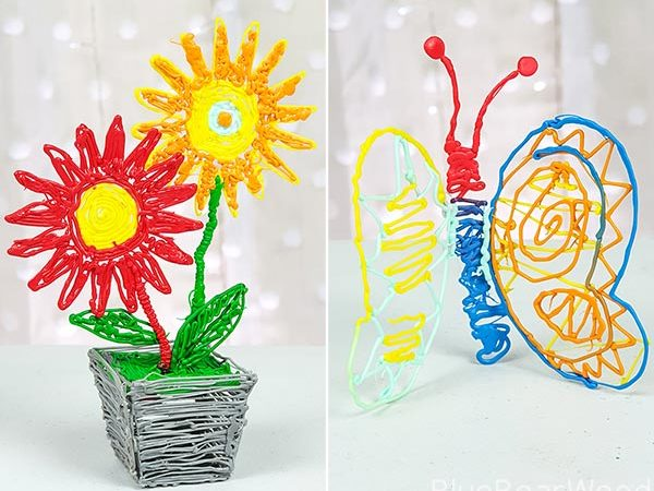 Flower And Butterfly Made With 3Doodler Start