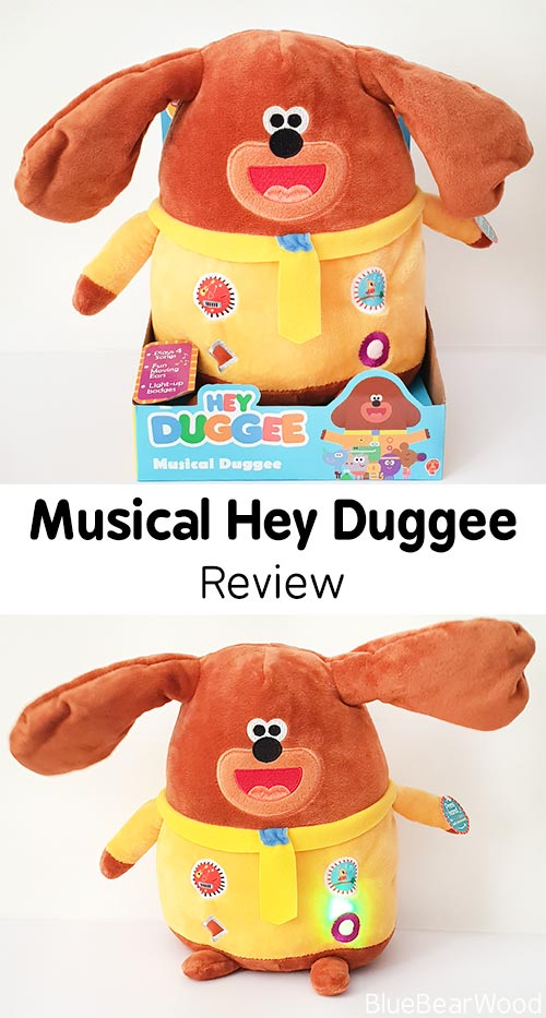 Musical Duggee Soft Toy from the hit Cbeebies Show Hey Duggee. He plays songs, flaps his ears and has lights that play in time to the music. Read our review here.