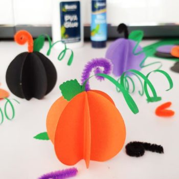 Orange Black And Purple Paper Pumkins